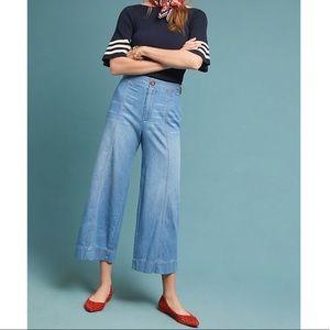 Anthro Pilcro Ultra High-Rise Crop Wide-Leg Jeans